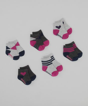 Gray & Pink Argyle Ankle Socks Set