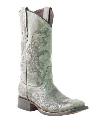 Green Spyker Laser-Detail Cowboy Boot