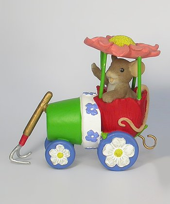 Flower Pot Train Mouse Figurine