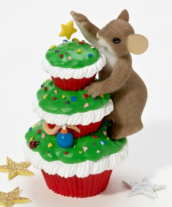 Merry Christmas Cupcake Mouse Figurine