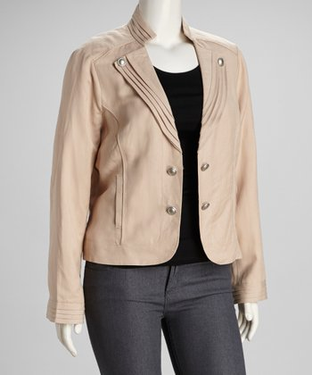 Beige Pleated Plus-Size Jacket