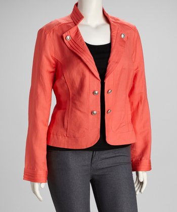 Coral Pleated Plus-Size Jacket