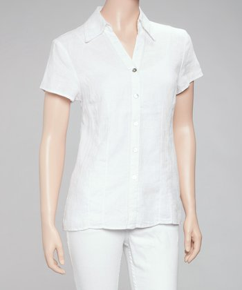 White Linen Button-Up