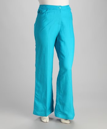 Blue Linen-Blend Plus-Size Trouser Pants