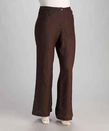 Brown Linen-Blend Plus-Size Trouser Pants