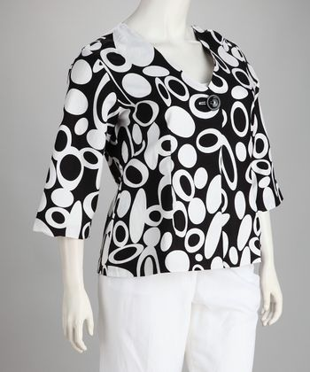 Black & White Circles Linen-Blend Plus-Size Jacket