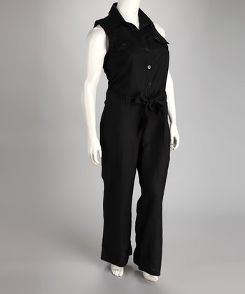Black Linen-Blend Sleeveless Button-Up Plus-Size Jumpsuit
