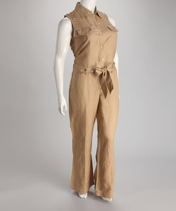 Khaki Linen-Blend Sleeveless Button-Up Plus-Size Jumpsuit