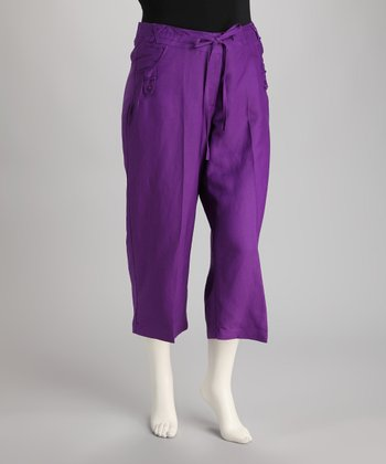 Purple Linen-Blend Capri Pants