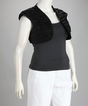 Black Linen-Blend Plus-Size Shrug
