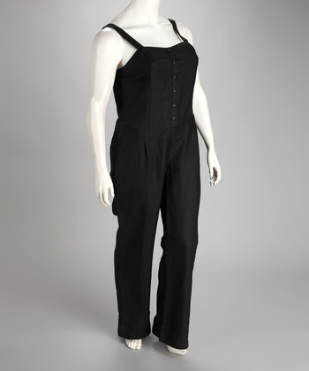 Black Linen-Blend Plus-Size Jumpsuit