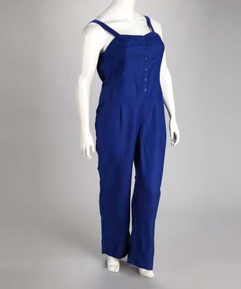 Royal Blue Linen-Blend Plus-Size Jumpsuit