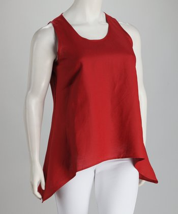 Berry Linen-Blend Plus-Size Hi-Low Tank