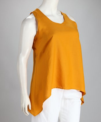 Mustard Linen-Blend Plus-Size Hi-Low Tank