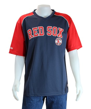 Navy & Red Boston Red Sox V-Neck Jersey
