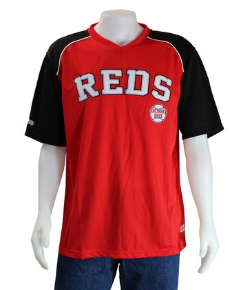 Red & Black Cincinnati Reds V-Neck Jersey