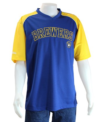 Royal & Yellow Milwaukee Brewers V-Neck Jersey