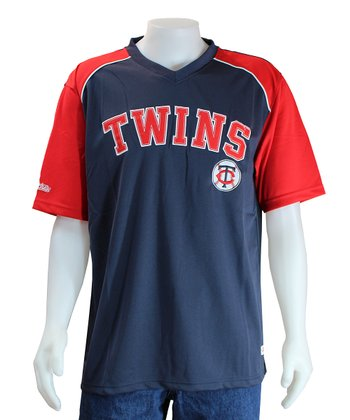 Navy & Red Minnesota Twins V-Neck Jersey