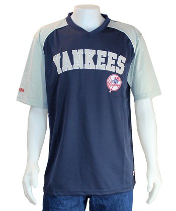 Navy & Gray New York Yankees V-Neck Jersey