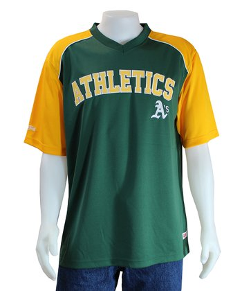Green & Yellow Oakland Athletics V-Neck Jersey