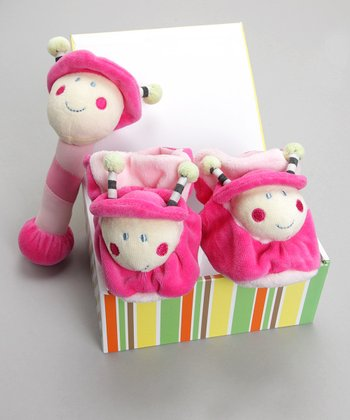 Hot Pink Lady the Bug Booties & Rattle