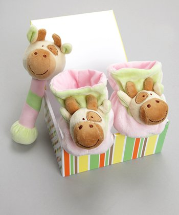 Pink Candy the Cow Booties & Rattle