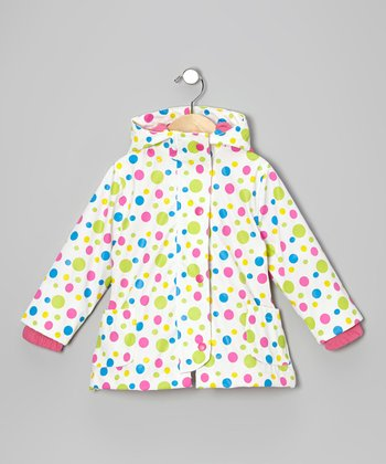 White Polka Dot Raincoat - Infant, Toddler & Girls