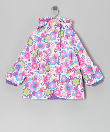 White Flower Raincoat - Infant, Toddler & Girls