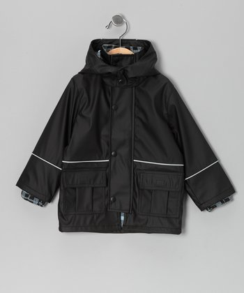 Black Cargo Pocket Raincoat - Infant, Toddler & Boys