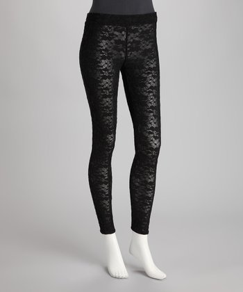 Black Serena Lace Lined Leggings