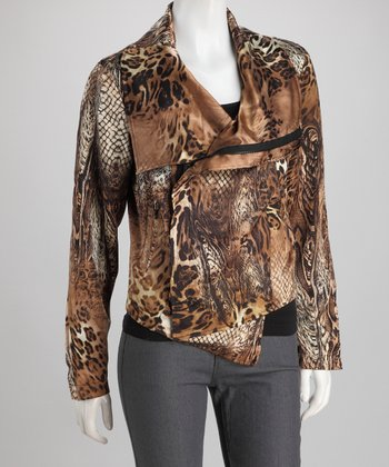 Brown Snakeskin Gabriella Silk-Blend Jacket