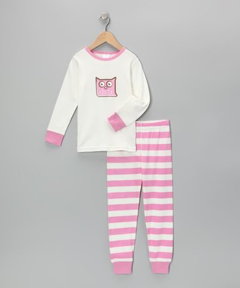 Pink & White Vintage Owl Pajama Set - Toddler & Girls