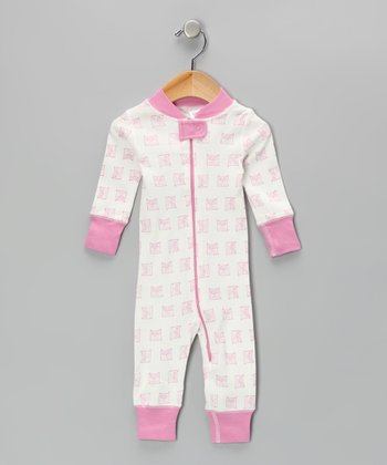 Pink & White Vintage Owl Playsuit - Infant