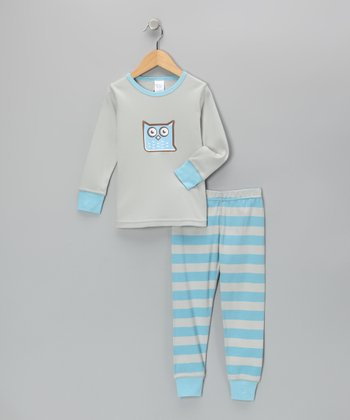 Blue & Gray Vintage Owl Pajama Set - Toddler & Boys