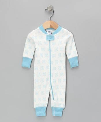 Blue & White Vintage Owl Playsuit - Infant