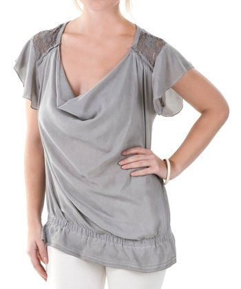 Stone Gray Drape Neck Angel-Sleeve Top - Women