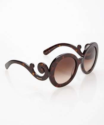 Havana Brown Flourish Round Sunglasses