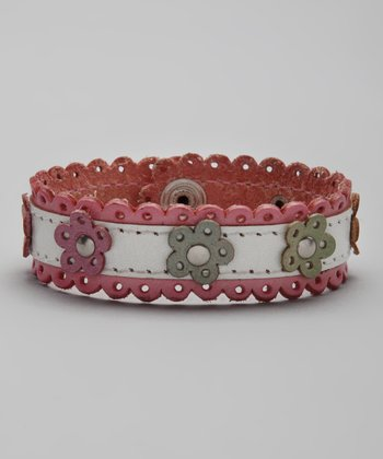 Pink & White Flower Leather Lace Bracelet