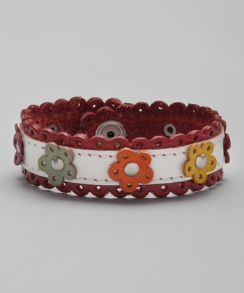 Red & White Flower Leather Lace Bracelet