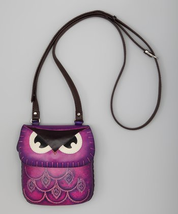 Purple Owl Leather Purse