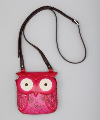 Pink Owl Leather Shoulder Bag