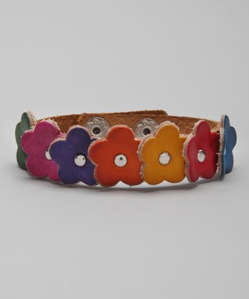 Tan Flower Bouquet Leather Bracelet