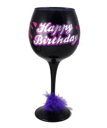 Black & Pink 'Happy Birthday' Wine Glass