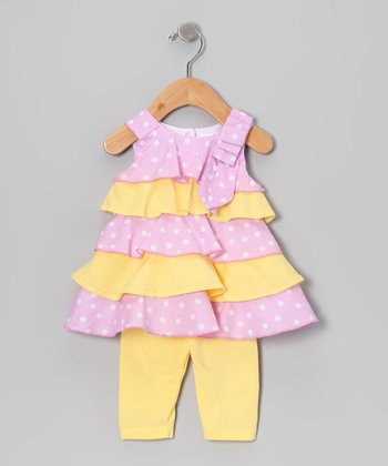 Pink & Yellow Polka Dot Ruffle Dress & Leggings - Infant