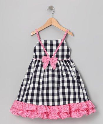 Gidget Loves Milo Navy & Pink Gingham Ruffle Dress - Infant, Toddler & Girls