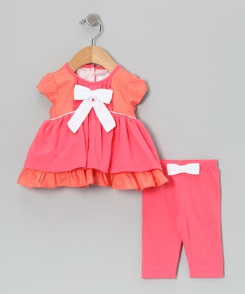 Coral Polka Dot Bow Dress & Leggings - Infant