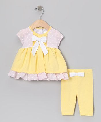 Yellow & Pink Polka Dot Bow Dress & Leggings - Infant