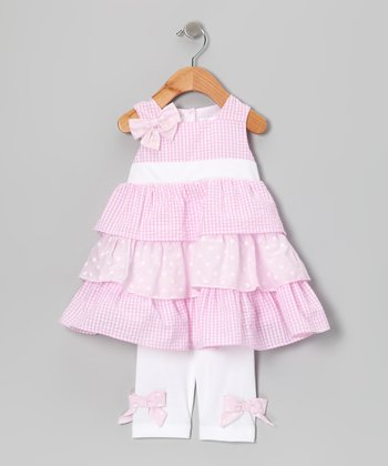 Pink Gingham Ruffle Dress & Leggings - Infant, Toddler & Girls