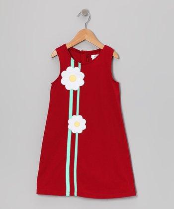 Gidget Loves Milo Red Daisy A-Line Dress - Girls