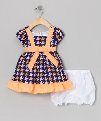 Gidget Loves Milo Blue Houndstooth Dress & Bloomers - Infant, Toddler & Girls